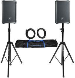 """2) JBL IRX108BT 8"""" 1000 Watt Powered DJ Portable PA Speakers"""