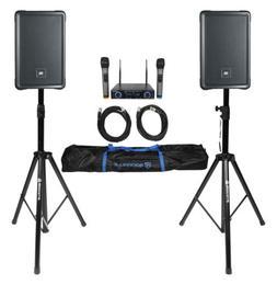"""2 JBL IRX108BT 8"""" 1000w Powered DJ Portable PA Speakers w/ B"""