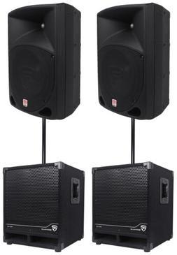 "2) Rockville RPG10 10"" Powered 600W DJ PA Speakers+2) Subwoo"