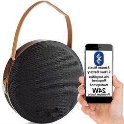 24W Waterproof Bluetooth Speaker -WOOD- Wireless Portable Re