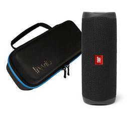 JBL Flip 5 Black Portable Bluetooth Speaker w/divvi! Hardshe