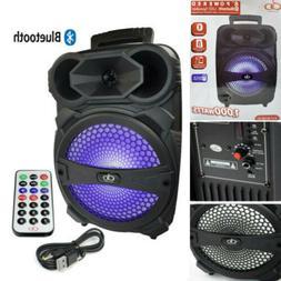 "Karaoke Bluetooth Speaker W/ 8"" Subwoofer Sound System Porta"